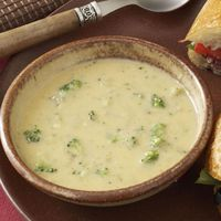 """Frozen broccoli speeds preparation of this warm and satisfying soup. �€""""Louise Beatty, Amherst, New York"""
