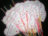 "valentine gift for kiddos---""you make my heart glow"" with a glowstick necklace/bracelet"