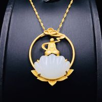 S925 silver Gold-plated Inlaid pendant-Hetian jade necklace-shell necklace for women-Jade Jewelry-Chinese Jewelry