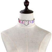 Heart holographic choker necklace