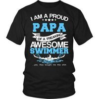 Swimming T-Shirt, Swimmer T-Shirt, Proud Papa Of An Awesome Swimmer T-Shirt, Gift for Papa, Gift for Dad, Gift for Grandpa, Swimming $20.99