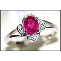 18K White Gold Natural Ruby and Diamond Solitaire Ring [RS0105]