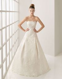 A Line Strapless Brush Train Ivory Wedding Dress