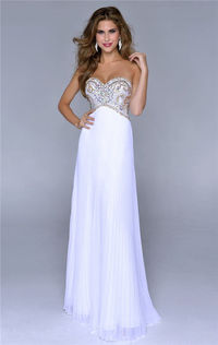 Color:White/Gold This long dress features a strapless and sweetheart neckline.