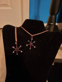 Copper and Crystal Snowflake Pendant Necklace $12.00