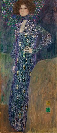"Gustav KLIMT Austria 1862 �€"" 1918 Emilie Flöge 1902 oil on canvas 178.0 x 80.0 cm Wien Museum, Vienna It's fabulous in person!"