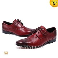 Men Leather Shoes | CWMALLS® Brussels Embossed Leather Lace-up Shoes CW708122 [Custom Made, Off-site Delivery]
