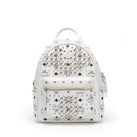 MCM Mini Diamond Visetos Backpack In White