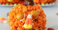 Print Easy Pumpkin Krispies Treats Ingredients butter vanilla extract red & yellow food coloring or orange gel coloring mini marshmallows crispy rice cereal min