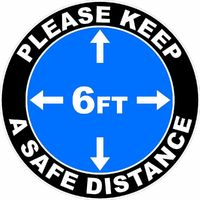 Please Keep A Safe Distance of 6 Ft Floor Decal Multi-Pack $22.75
