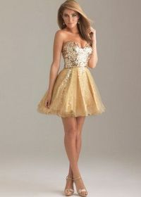 Gold Sparkly Sequin Top Short A Line Strapless Prom Dress