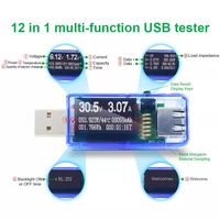3pcs 12 in 1 Blue USB Tester DC Digital Voltmeter Amperemeter Voltagecurrent Meter Ammeter Detector Power Bank Charger Indicator