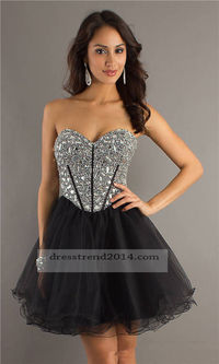 Short Black Beaded Corset Flattering Prom Dress