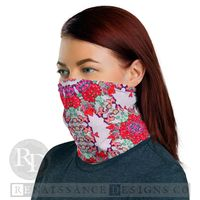 Neck Gaiter Face Mask, Face protection, Boho Fashion Bandana Ornamental Cover in Pink, Red and Lime Green, Unisex $17.95