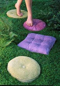 Concrete stepping stones mimic the look of vintage pillows. Looks almost Alice-y.