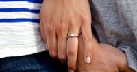 Engagement photo. Ring shot. Adore the simple cut of the diamond and band!