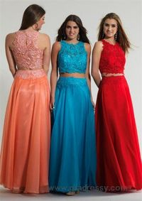 Long High Neck Dave and Johnny 10001 Two Piece Lace Prom Dresses
