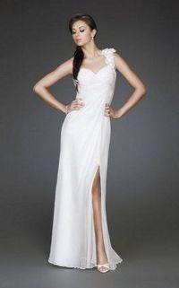 Long White Prom Dresses with Flower Embellished Strap