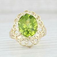 A Vintage Natural 10K Yellow Gold 3.6CT Oval Checkerboard Cut Green Peridot Ring $255.00