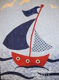 LOVE this sailboat baby quilt, which was designed by the writer, put together as a kit and sewn by a master quilter. Great idea -- find something you love, create a pattern and if you aren't a quilter, find someone to assemble it for you! #babyquilts ...
