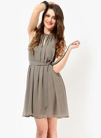 Tops And Tunics Grey Colored Solid Skater Dress �'�1199.50