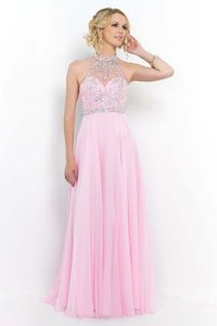 2015 Sparkly Beaded Illusion High Neck Crystal Pink Prom Dress