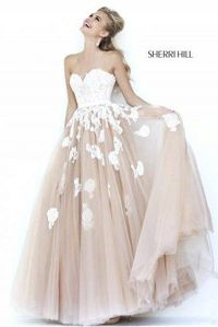 Floral Lace Ivory Nude Sherri Hill 11200 Ball Gown Dress