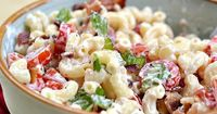 BLT Salad- 8 ounces of macaroni noodles 6 pieces of crispy bacon 8 - 10 grape tomatoes 1 leaf fresh lettuce 1/4 cup low-fat mayonnaise 1/4 cup low-fat sour cream Salt and pepper Note: this was good but even better with a few more seasonings, like chives, ...