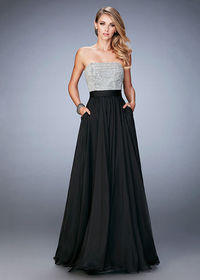 Long Black Crystals Pearls Strapless Chiffon Evening Gown With Pockets