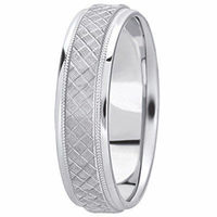 14K White Gold 6 millimeters wide Wedding anniversary Band gift for him $587.00