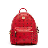 MCM Small Stark Side Odeon Studs Backpack In Red