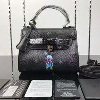 MCM Mini Ketty Rabbit Visetos Satchel In Black