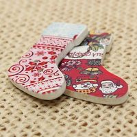 Pack of 50 Assorted Wooden Christmas Stockings Buttons. 21mm x 30mm. Festive Xmas Socks and Boots. Perfect for Sewing, Cards, Art and Crafts £4.09