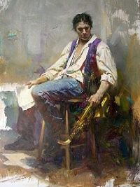 """I love this painting - a wonderful study! """"The Sax Player"""" by Pino Daeni."""