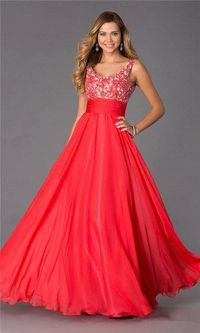 Alyce BDazzle 35689 Long Watermelon Lace Prom Dresses