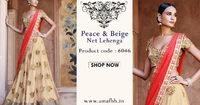 Peace & Beige Net Lehenga Embrace the luxury of pure net fabric with this stunning and elegant sandy brown and peach lehenga from Amafhh. Perfect for evening wear at parties and social gatherings, this ensemble boasts of a fine santoon and net blouse...