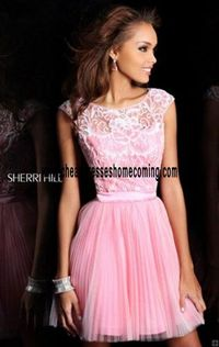Bright beaded Chic Sherri Hill 21167 Open-Back Light Pink/Pink 2016 Lace Short Girls Gorgeous