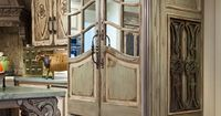 I HAVE to have this 'fridge! It is genius. The mirrored doors take it past custom to true lux. Pretty sure you won't be seeing this at the Home Depot next year! Pointing out one more fab detail- the gorgeous curvy leg on the island is a salvaged p...