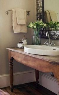 Farm table vanity