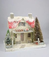 Santa Up On The Rooftop Putz House | Christmas Putz House | Mica House