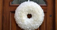 Wreath from coffee filters. I am going to dye the filters yellow and orange to make a candy corn looking wreath.