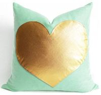 Gold Heart on Mint Green Linen Pillow Cover by Sukan - contemporary - pillows - by Etsy
