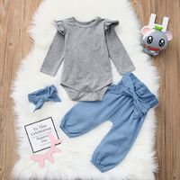 Ruffle Shoulder Romper Denim Pants with Headband $19