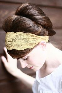 Search mama's collection to make lace headband. If nothing works, buy stretchy lace. Maybe with fabric stiffener too?
