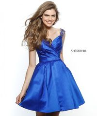 Royal Beaded Straps A Line Short Satin Cocktail Dresses 2017 Sherri Hill 51389 [Sherri Hill 51389 Royal] - $180.00