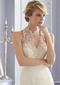 Fabulous Trumpet-Mermaid High Neck Lace Buttons Wedding Dress with Appliques and Crystals CWWT14004