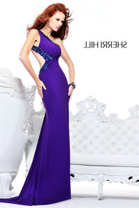 Sexy Purple Beaded One Shoulder Backless Fitted Jersey Evening Gown
