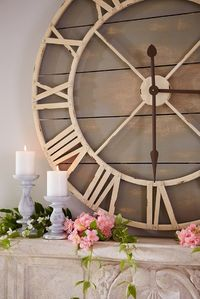 "Why not show off your fabulous taste around the clock? Hang Pier 1's hand-painted wood and wrought iron Oversize Gray Rustic Wall Clock, and let it keep pace just like you do�€""stylishly."