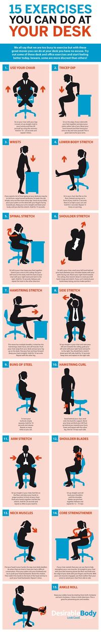 Sitting all day at your desk isn't good for you. If you can't get up a take a walk, a graphic from Desirable Body shows you some exercises you can do while at y
