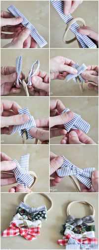 A hair bow tutorial for sewing bows that can be attached to a headband or hair clip. Adjust for any age and fun to personalize. Sewing for beginners to any leve